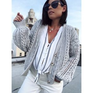 Nola Gray Puff Sleeve Cardigan Sweater